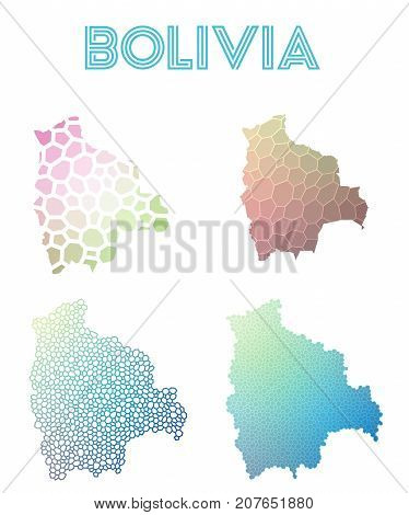 Bolivia Polygonal Map. Mosaic Style Maps Collection. Bright Abstract Tessellation, Geometric, Low Po