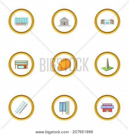 Architectural bureau icons set. Cartoon style set of 9 architectural bureau vector icons for web design