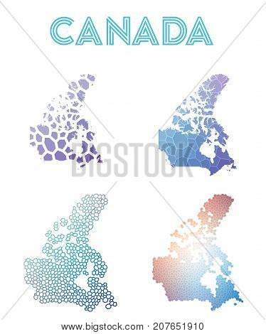 Canada Polygonal Map. Mosaic Style Maps Collection. Bright Abstract Tessellation, Geometric, Low Pol