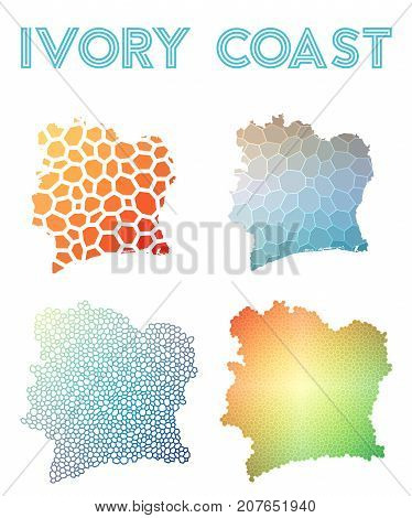 Ivory Coast Polygonal Map. Mosaic Style Maps Collection. Bright Abstract Tessellation, Geometric, Lo