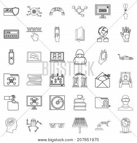 File icons set. Outline style of 36 file vector icons for web isolated on white background