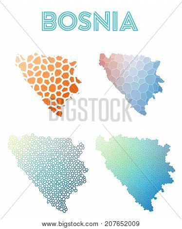 Bosnia Polygonal Map. Mosaic Style Maps Collection. Bright Abstract Tessellation, Geometric, Low Pol