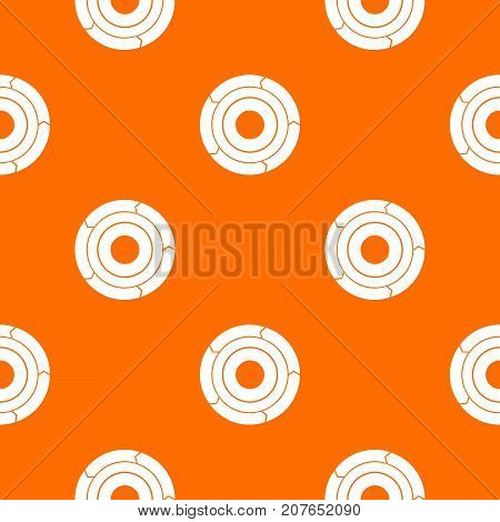Chart pie with arrows pattern repeat seamless in orange color for any design. Vector geometric illustration