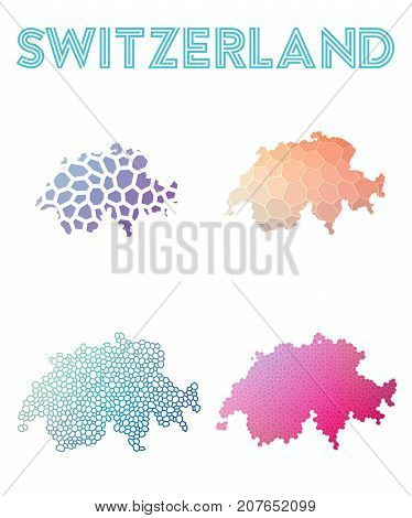 Switzerland Polygonal Map. Mosaic Style Maps Collection. Bright Abstract Tessellation, Geometric, Lo