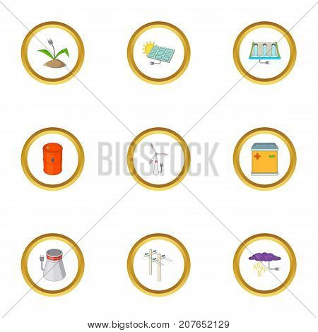 Eco energy icons set. Cartoon style set of 9 eco energy vector icons for web design