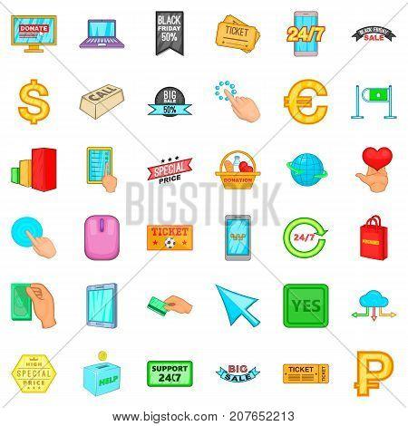 Electronic commerce icons set. Cartoon style of 36 electronic commerce vector icons for web isolated on white background
