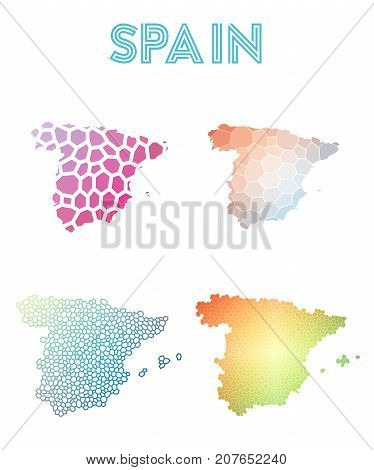 Spain Polygonal Map. Mosaic Style Maps Collection. Bright Abstract Tessellation, Geometric, Low Poly