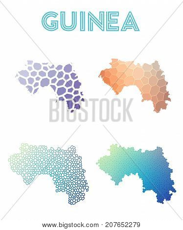 Guinea Polygonal Map. Mosaic Style Maps Collection. Bright Abstract Tessellation, Geometric, Low Pol