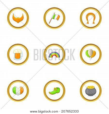 Saint Patrick day icons set. Cartoon style set of 9 Saint Patrick day vector icons for web design