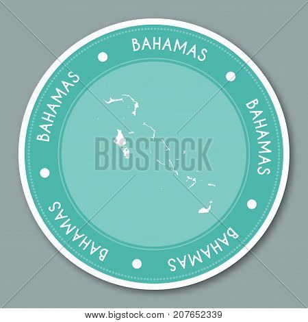 Bahamas Label Flat Sticker Design. Patriotic Country Map Round Lable. Country Sticker Vector Illustr