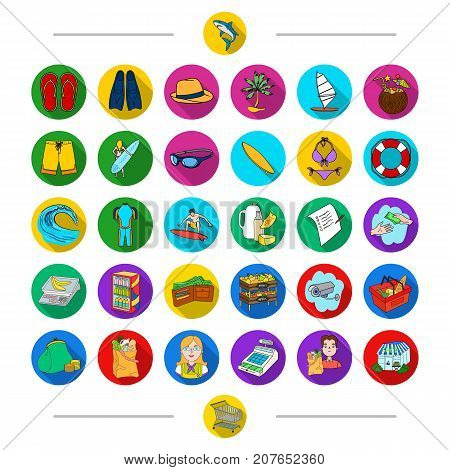Food, leisure, ocean and other  icon in cartoon style. Cart, trade, equipment, icons in set collection