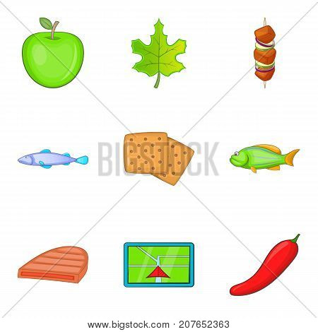 Rest by the river icons set. Cartoon set of 9 rest by the river vector icons for web isolated on white background