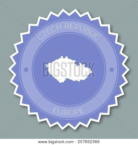 Czech Republic Badge Flat Design. Round Flat Style Sticker Of Trendy Colors With Country Map And Nam