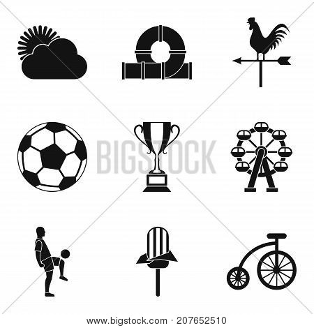 Children sports icons set. Simple set of 9 children sports vector icons for web isolated on white background