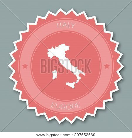 Italy Badge Flat Design. Round Flat Style Sticker Of Trendy Colors With Country Map And Name. Countr