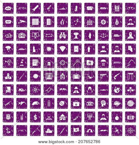 100 antiterrorism icons set in grunge style purple color isolated on white background vector illustration