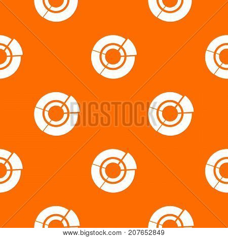 Pie chart for infographic pattern repeat seamless in orange color for any design. Vector geometric illustration