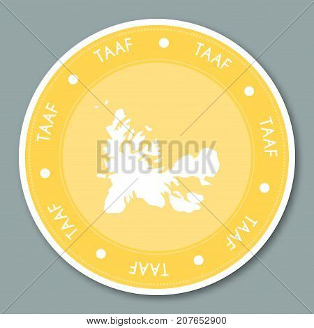French Southern Territories Label Flat Sticker Design. Patriotic Country Map Round Lable. Country St
