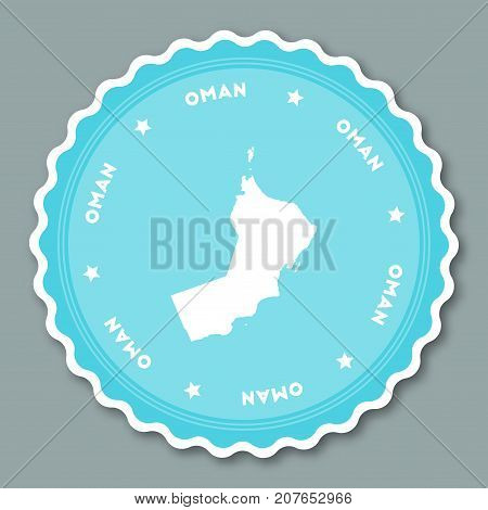 Oman Sticker Flat Design. Round Flat Style Badges Of Trendy Colors With Country Map And Name. Countr