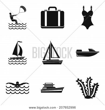 Rest on sailboat water icons set. Simple set of 9 rest on sailboat water vector icons for web isolated on white background