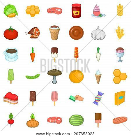 Grocery icons set. Cartoon style of 36 grocery vector icons for web isolated on white background