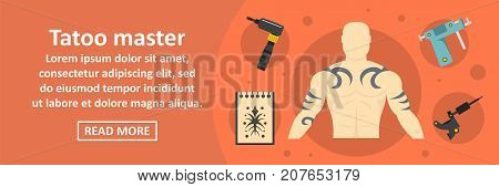 Tattoo master banner horizontal concept. Flat illustration of tattoo master banner horizontal vector concept for web design