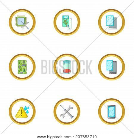 Phone diagnostics icons set. Cartoon style set of 9 phone diagnostics vector icons for web design