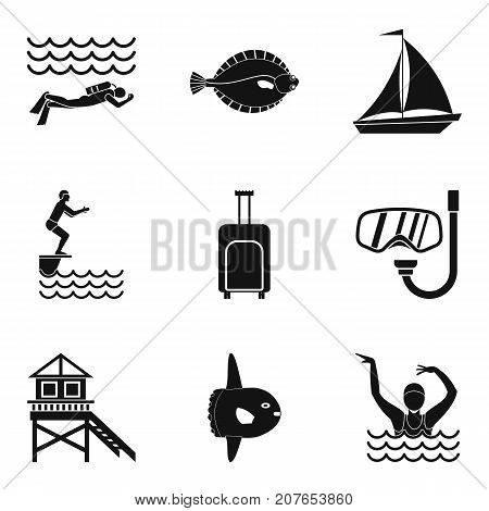 Swim in shallow water icons set. Simple set of 9 swim in shallow water vector icons for web isolated on white background