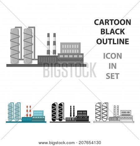 Oil refinery factory icon in cartoon style isolated on white background. Oil industry symbol vector illustration.