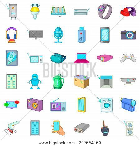 Battery icons set. Cartoon style of 36 battery vector icons for web isolated on white background