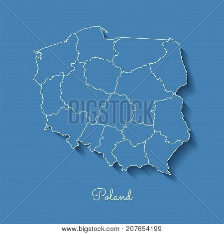 Poland Region Map: Blue With White Outline And Shadow On Blue Background. Detailed Map Of Poland Reg