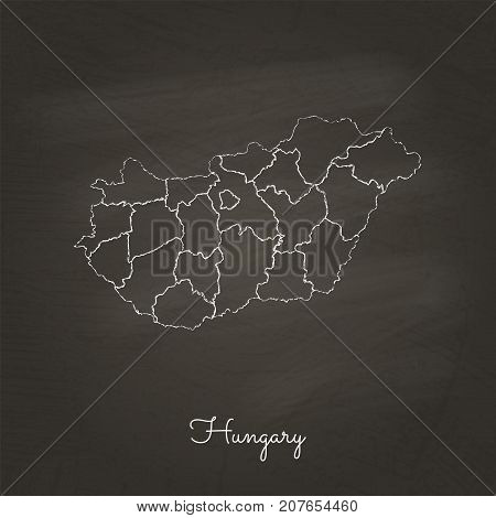 Hungary Region Map: Hand Drawn With White Chalk On School Blackboard Texture. Detailed Map Of Hungar