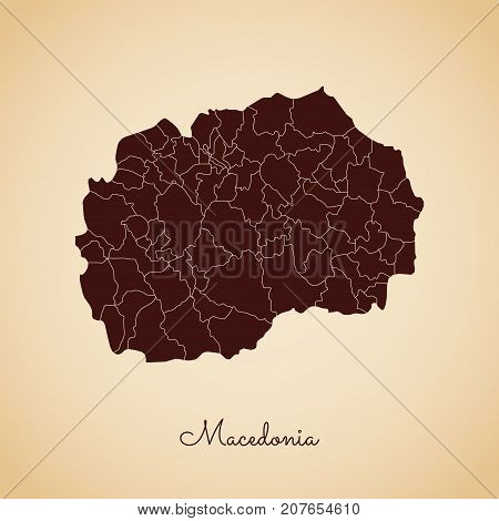 Macedonia Region Map: Retro Style Brown Outline On Old Paper Background. Detailed Map Of Macedonia R