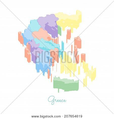Greece Region Map: Colorful Isometric Top View. Detailed Map Of Greece Regions. Vector Illustration.