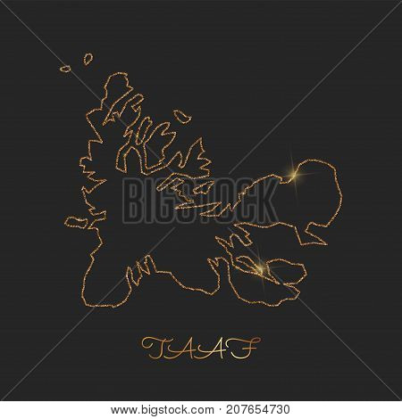 Taaf Region Map: Golden Glitter Outline With Sparkling Stars On Dark Background. Detailed Map Of Taa