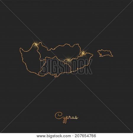 Cyprus Region Map: Golden Glitter Outline With Sparkling Stars On Dark Background. Detailed Map Of C