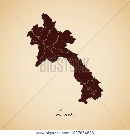 Laos Region Map: Retro Style Brown Outline On Old Paper Background. Detailed Map Of Laos Regions. Ve