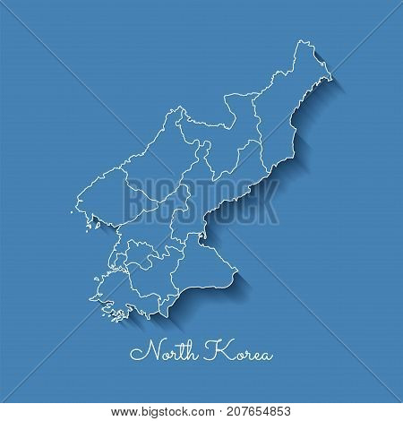 North Korea Region Map: Blue With White Outline And Shadow On Blue Background. Detailed Map Of North
