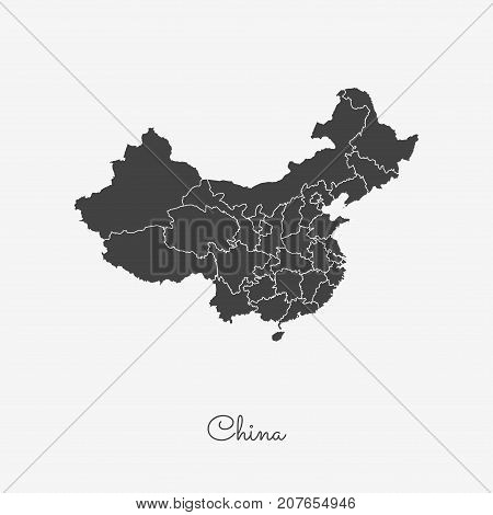 China Region Map: Grey Outline On White Background. Detailed Map Of China Regions. Vector Illustrati