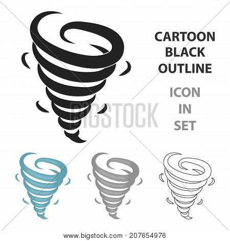 Tornado icon in cartoon style isolated on white background. Weather symbol vector illustration.