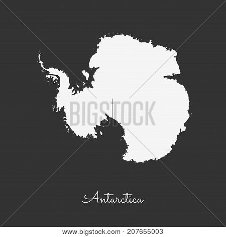 Antarctica Region Map: White Outline On Grey Background. Detailed Map Of Antarctica Regions. Vector