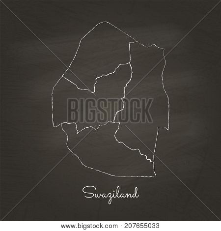 Swaziland Region Map: Hand Drawn With White Chalk On School Blackboard Texture. Detailed Map Of Swaz