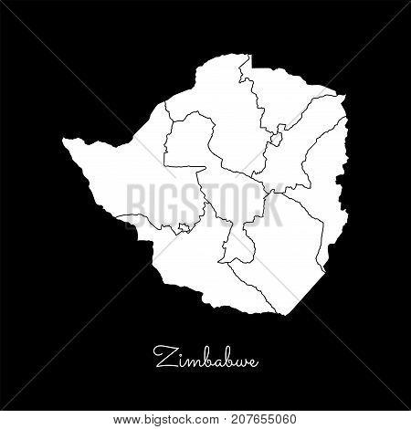 Zimbabwe Region Map: White Outline On Black Background. Detailed Map Of Zimbabwe Regions. Vector Ill