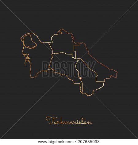 Turkmenistan Region Map: Golden Gradient Outline On Dark Background. Detailed Map Of Turkmenistan Re