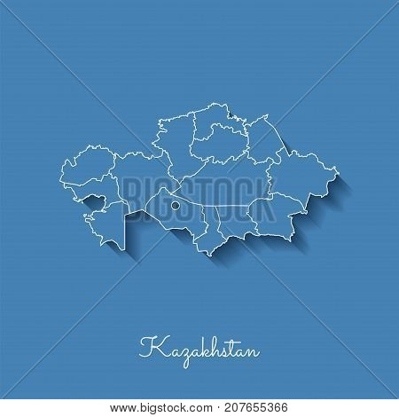 Kazakhstan Region Map: Blue With White Outline And Shadow On Blue Background. Detailed Map Of Kazakh