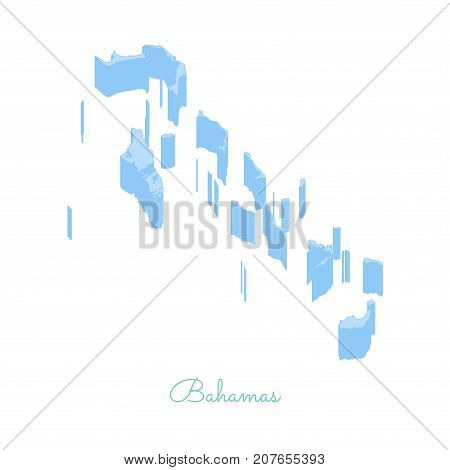 Bahamas Region Map: Colorful Isometric Top View. Detailed Map Of Bahamas Regions. Vector Illustratio