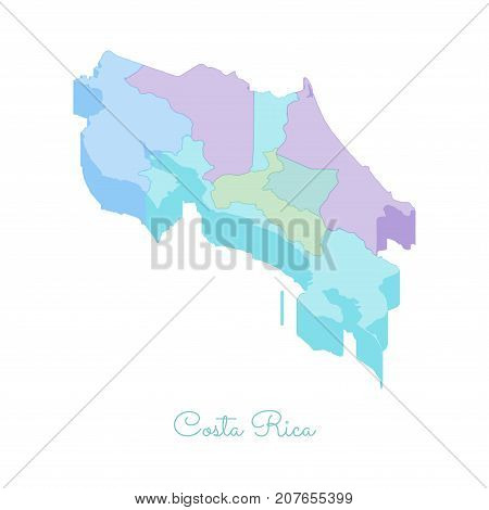 Costa Rica Region Map: Colorful Isometric Top View. Detailed Map Of Costa Rica Regions. Vector Illus