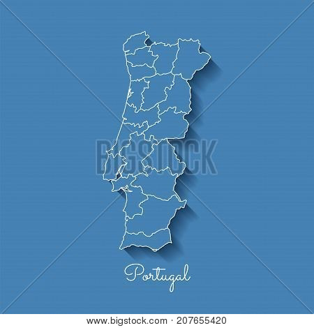Portugal Region Map: Blue With White Outline And Shadow On Blue Background. Detailed Map Of Portugal