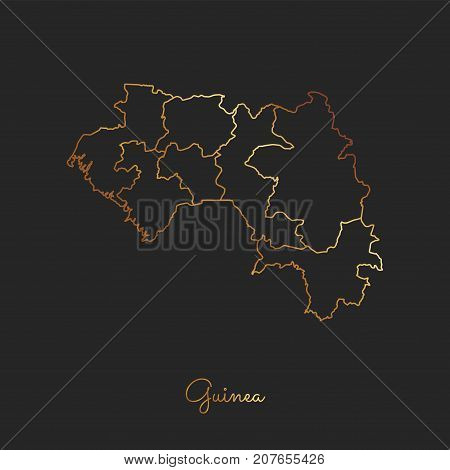 Guinea Region Map: Golden Gradient Outline On Dark Background. Detailed Map Of Guinea Regions. Vecto