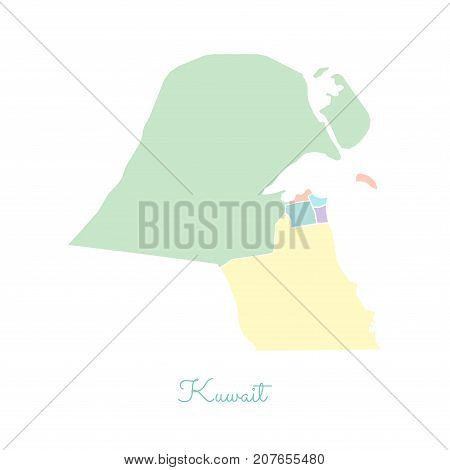 Kuwait Region Map: Colorful With White Outline. Detailed Map Of Kuwait Regions. Vector Illustration.